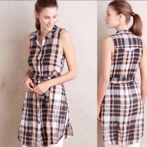 Holding Horses Anthropologie Plaid Tunic Top Navy